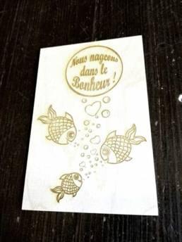 Gravure personnalisé sur du bois faire part de naissance original