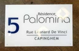 Plaque de résidence, syndic et copro pour nom de résidence Lille Tourcoing Rennes